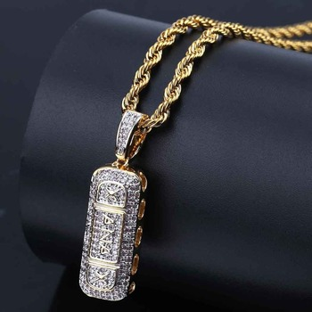 TOPGRILLZ Hip Hop Gold Plated Iced Out Micro Paved CZ หิน Xanax Pill สร้อยคอและจี้ Charm สำหรับชายผู้หญิง Gidts