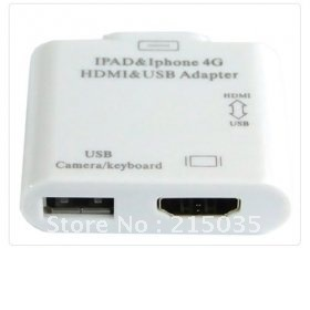 HDMI /USB Adapter For iPAD,Iphone4,4S,IPod touch4