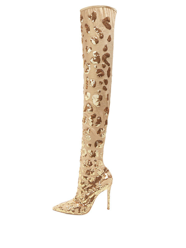 Luxury women gold sequins mesh over the knee boots glitter lace slip on thigh high boats sexy pointed toe high heels woman shoesLuxury women gold sequins mesh over the knee boots glitter lace slip on thigh high boats sexy pointed toe high heels woman shoes