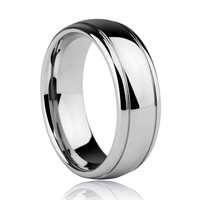 7mm Shiny Silver Tone Mirror Polished Tungsten Steel Man's Jewelry Ring Comfort Fit Free Shipping and Free Engraving