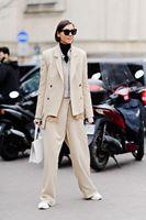 Шерстяной повседневный комплект из 2 предметов, пиджак, неправильный двубортный Блейзер, женский костюм и свободные штаны, Autuanm, женская оде