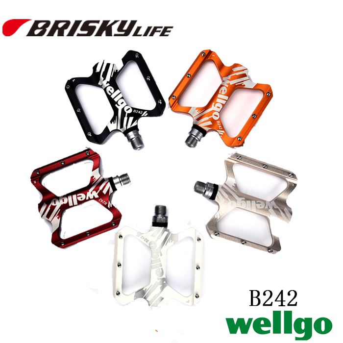 Free shipping high quality Wellgo colorful bike pedals B242 for BMX mountain bikes mountain bike four perlin disc hubs 32 holes high quality lightweight flexible rotation bicycle hubs bzh002