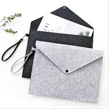 1 PCS Simple Solid A4 Big Capacity Document Bag Business Briefcase File Bag Folders Chemical Felt Filing Products Student Gifts