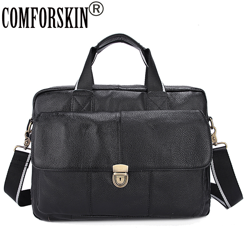 COMFORSKIN Brand Premium 100% Genuine Leather Magnetic Buckle Business Men Briefcase New Arrivals Large Capacity Men Handbags