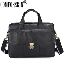 COMFORSKIN Brand Premium 100% Genuine Leather Magnetic Buckle Business Men Briefcase New Arrivals Large Capacity Handbags