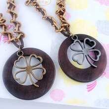 Antique Vintage Long Rope Chain Necklace font b Wooden b font Alloy Clovers font b Pendants