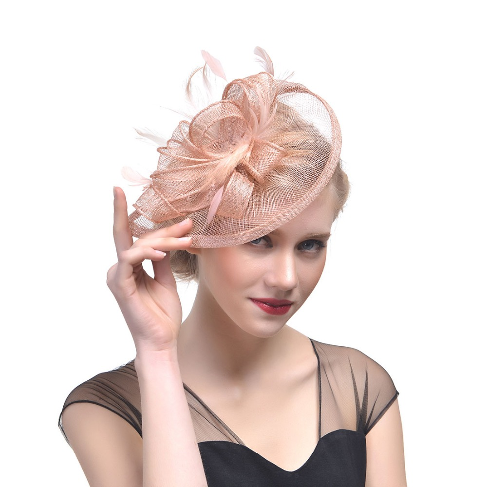 2018 New Fashion Feather Fedora Hat Floral Elegant Ladies Fascinator Vintage Hat Flower Wedding Party Fedora M38