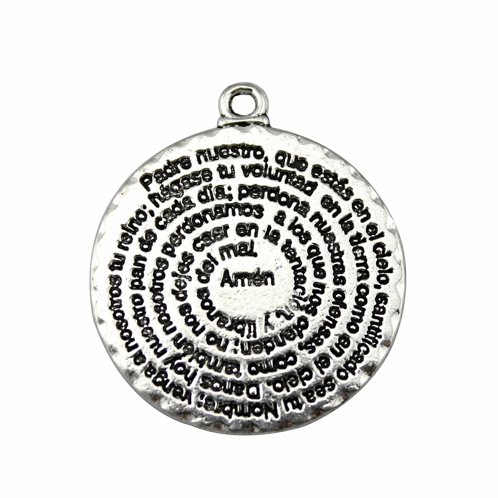 2pcs Double Sided Round Amen Bible Pendant Charms For