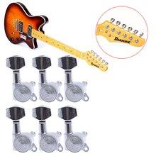 6 unids Cabezales de Máquinas de Chrome Guitarra Cuerdas Clavijas de Afinación Sintonizadores de Bloqueo de Teclas