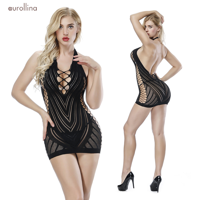Nylon Lace Bodystocking  Lingerie Deep Sexy Dress Uniform (1)
