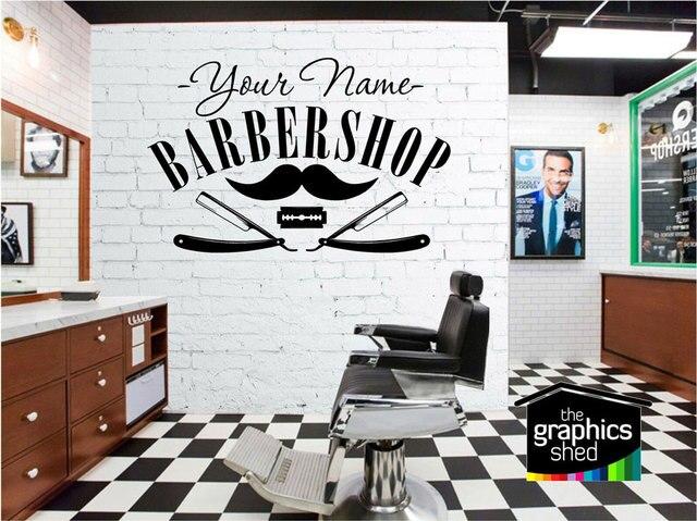 Customizable Barber Shop Name Vinyl Sticker Barber Shop Salon Salon Shopfront Decorative Window Sticker Wall Sticker MF52