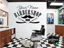 Etiqueta engomada del vinilo del nombre de la barbería personalizable, etiqueta engomada decorativa de la ventana de la tienda del salón de peluquería MF52