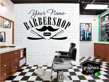 カスタマイズ可能な理髪店名ビニールステッカー理髪店サロンサロン Shopfront 装飾ウィンドウステッカーウォールステッカー MF52
