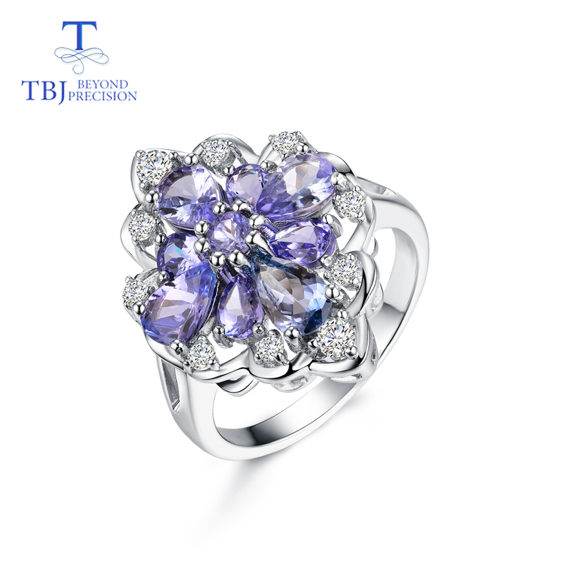 TBJ tanzanite ring natural gemstone in 925 sterling silver luxury shiny precious stone jewelry for lady