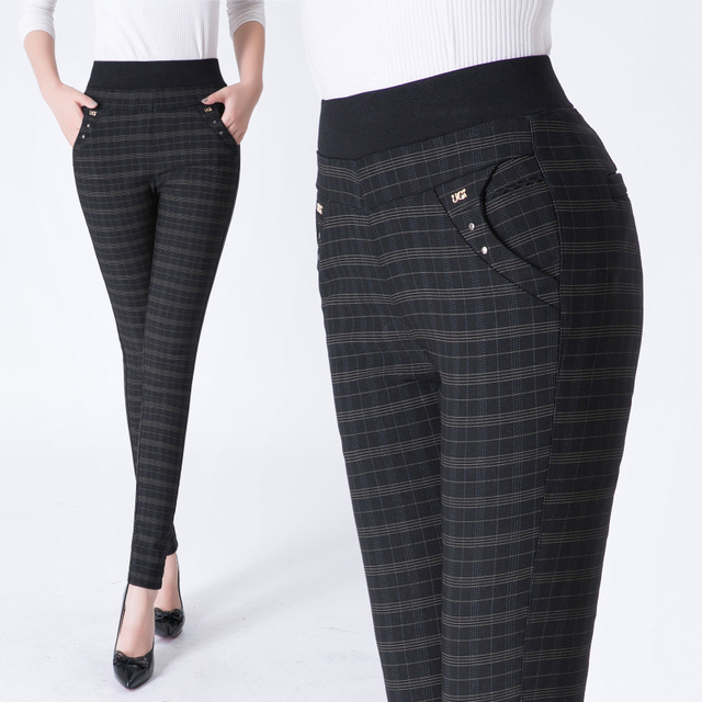 2018 New Plus Size Women Pants High Waist Spring/Autumn Fashion Formal Trousers Workout Dark Gray/Black Leggings 3XL 4XL 5XL 6XL