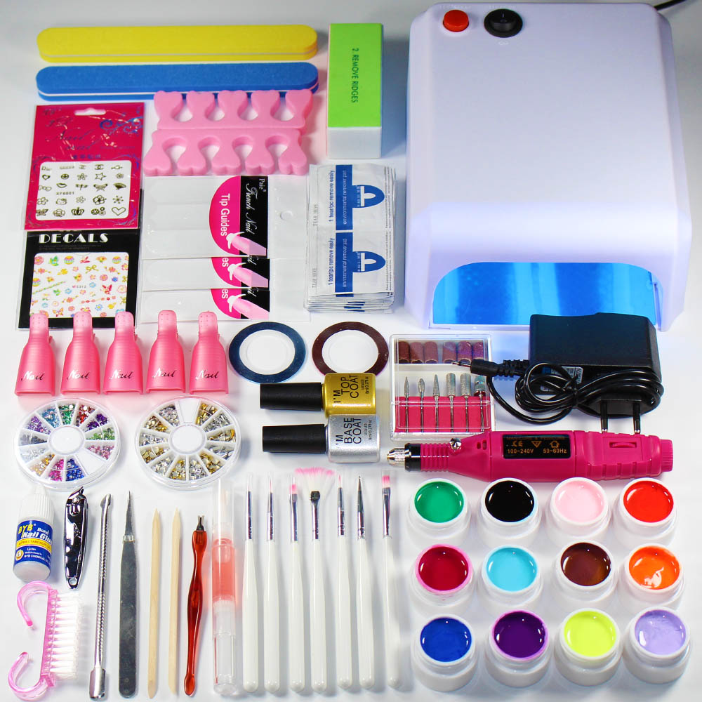 Nail Art Tool Kit: Nail Art Set Design Nail Varnish Kit With Lamp Manicure