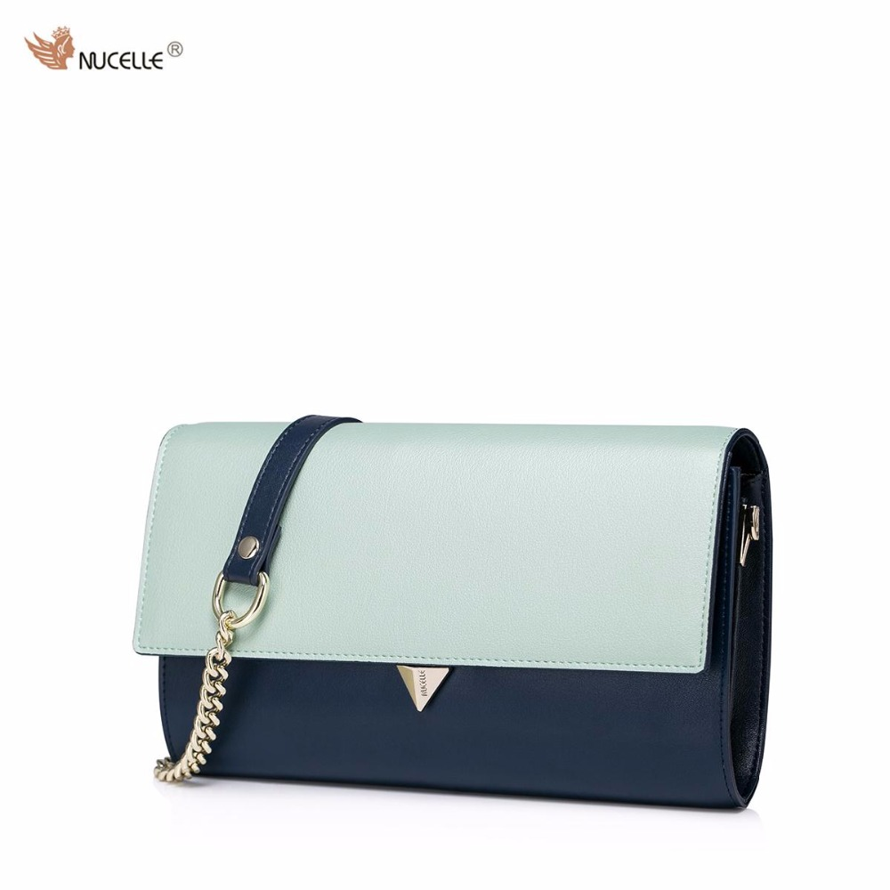 NUCELLE New Brand Design Fashion Contrast Color Lock Cow Leather Women Ladies Shoulder Crossbody Clutches Wallet on Chain Bag