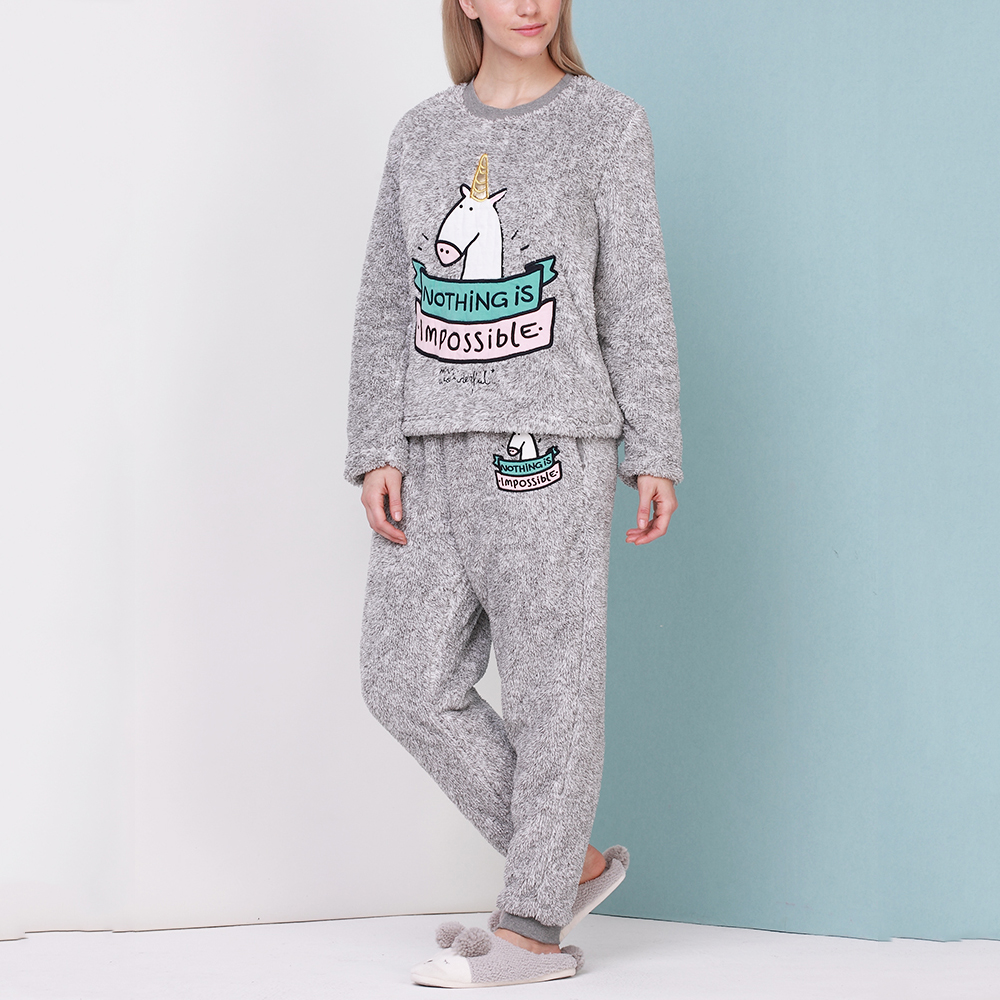 Autumn/Winter Adult Unicorn Pajamas Flannel Pajama Suit Sets Sleepwear Cartoon Animal Thick Bundle Plush Pijama Costume Nightgow