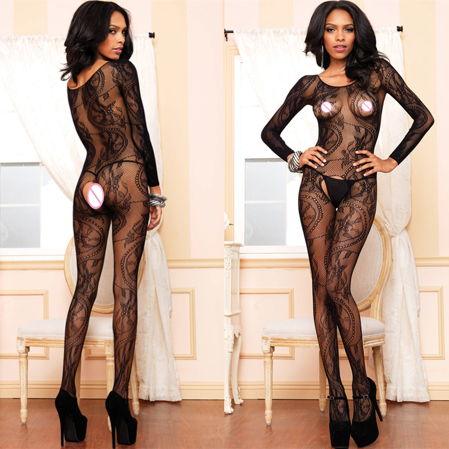 Sexy Open Crotch BodyStocking Crotchless FishNet O Neck Body Stocking Bodysuit Lingerie Underwear For Sex Bodysuit Jumpsuits 636