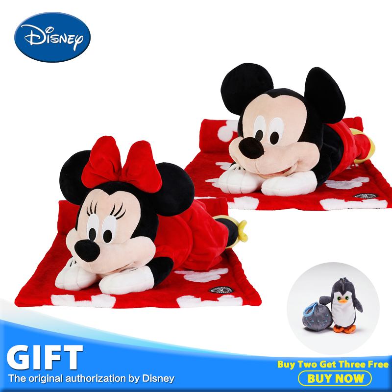 Disney Gift Bag 40cm Minnie and Micky Mouse Plush Stuffed Toys Children Gift Pillow Back Cushion Portable Blanket