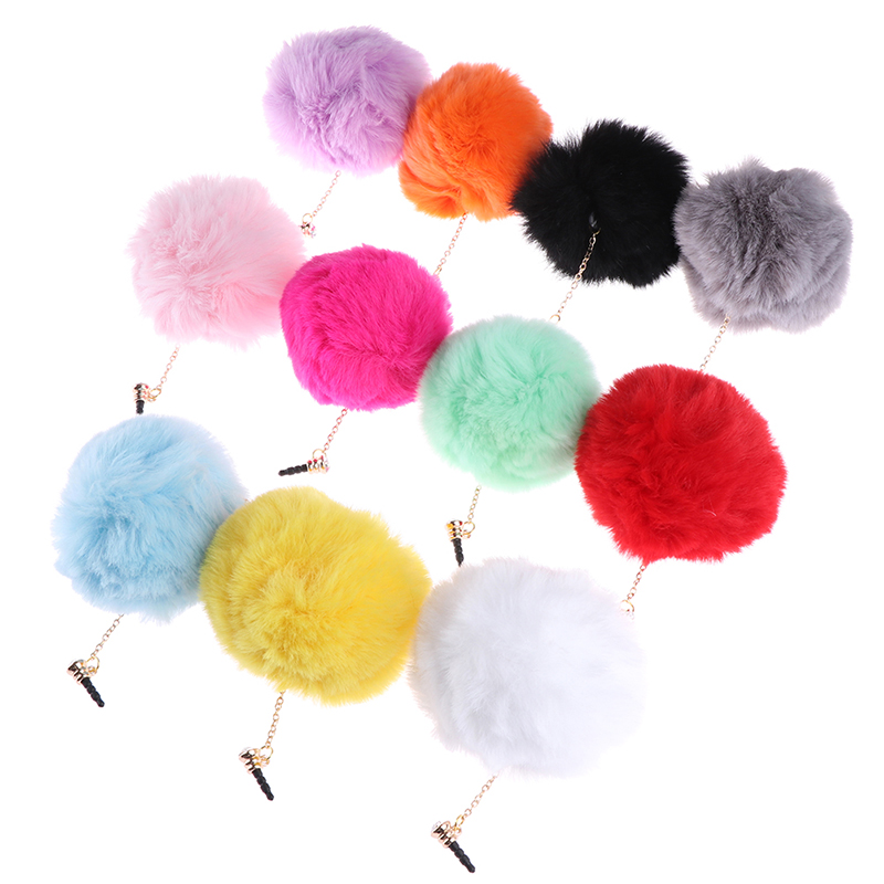 1pc Earphone Jack Plug Crystal Ball Rabbit Fur Dust Plug Mobile Phone 3.5mm Earphones Hole Cell Accessories 11 Colors