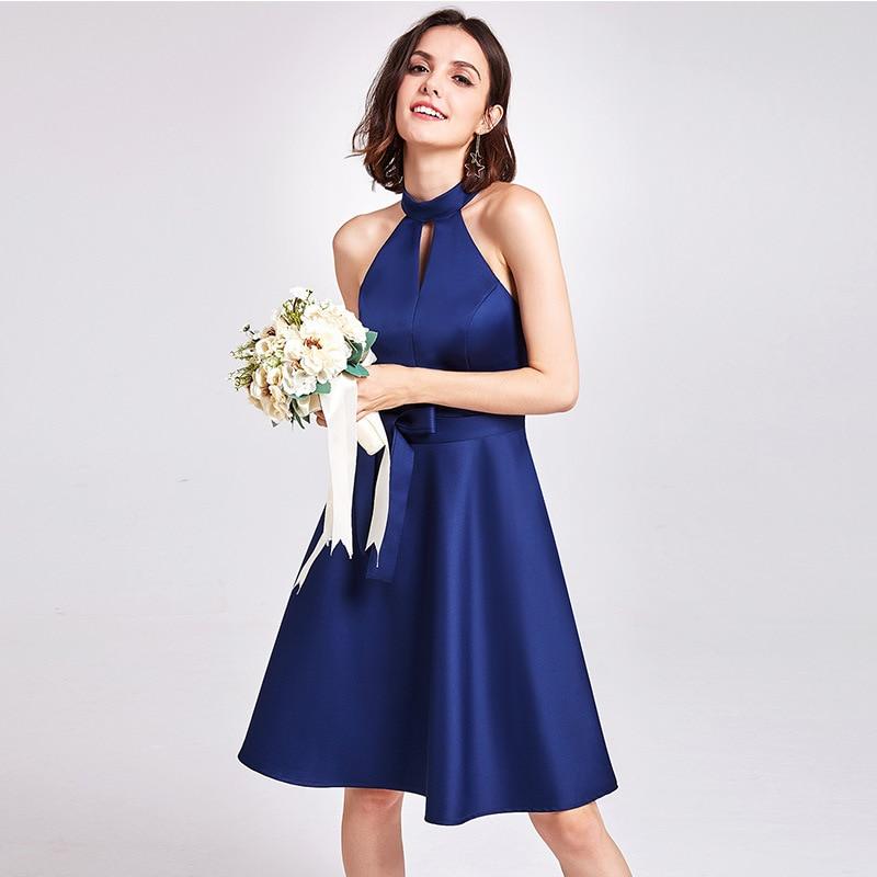 Popodion Satin Bridesmaid Dresses Short Sister Dress For