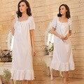 Corta manga larga blanca camisón largo camisón blanco algodón Vintage camisones vestido de noche de sueño mujeres ropa de dormir
