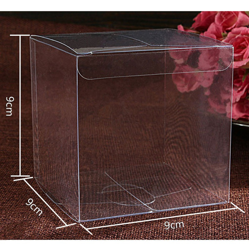 500pcs lot 9 9 9cm clear plastic pvc box packing boxes for gifts chocolate candy cosmetic