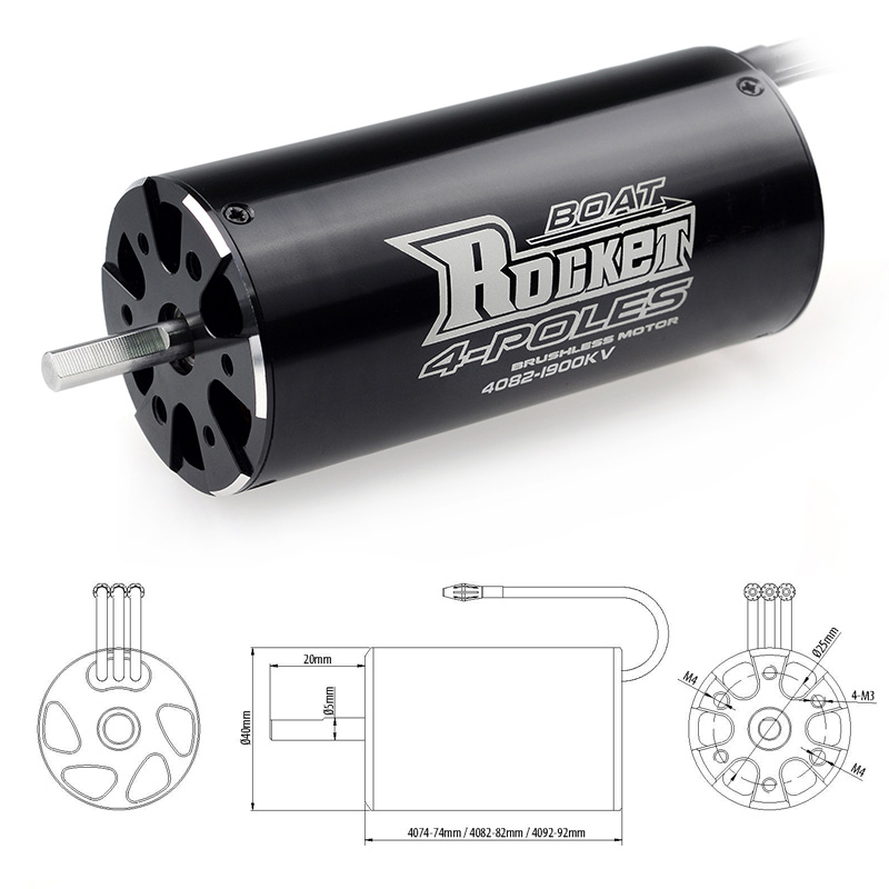 Image 3 - SURPASSHOBBY Rocket 4082 1900KV 1600KV 4P Brushless Motor for Traxxas M41 Catamaran Spartan 1000mm(or Above) RC Boat Car-in Parts & Accessories from Toys & Hobbies