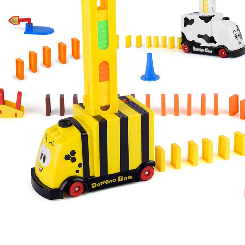 Populair Merk Speelgoed Auto Set Treinen Baby Onderwijs Bouwstenen Automatische Domino Baksteen Leggen Speelgoed Geluid Licht Lift Springplank