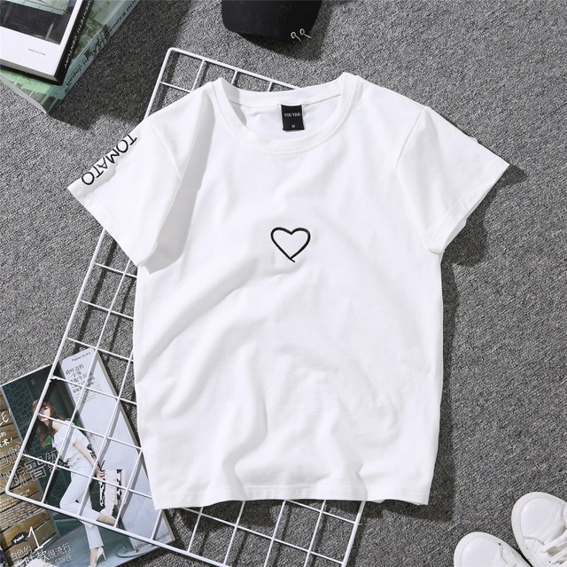 Summer Two-Colored Heart Embroidered Women's T-Shirt