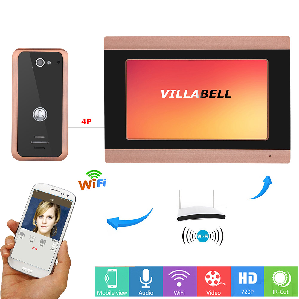 7inch Wired Wifi Video Doorbell Intercom Entry System with 1000TVL Camera Night Vision Support APP intercom,unlocking,Recording7inch Wired Wifi Video Doorbell Intercom Entry System with 1000TVL Camera Night Vision Support APP intercom,unlocking,Recording