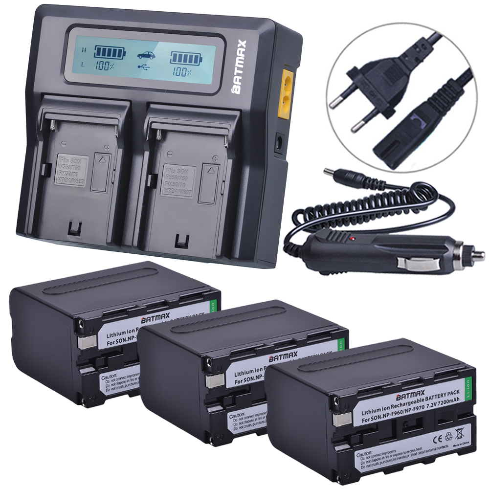 3Pcs 7200mAh NP-F970 NP F970 Power Display Battery + 1 Ultra Fast 3X faster Dual Charger for SONY F930 F950 F770 F570 CCD-RV100 4pc 7200mah np f970 np f960 np f960 battery ultra fast 3x fast lcd dual charger for sony f930 f950 f770 f570 f970 ccd rv100