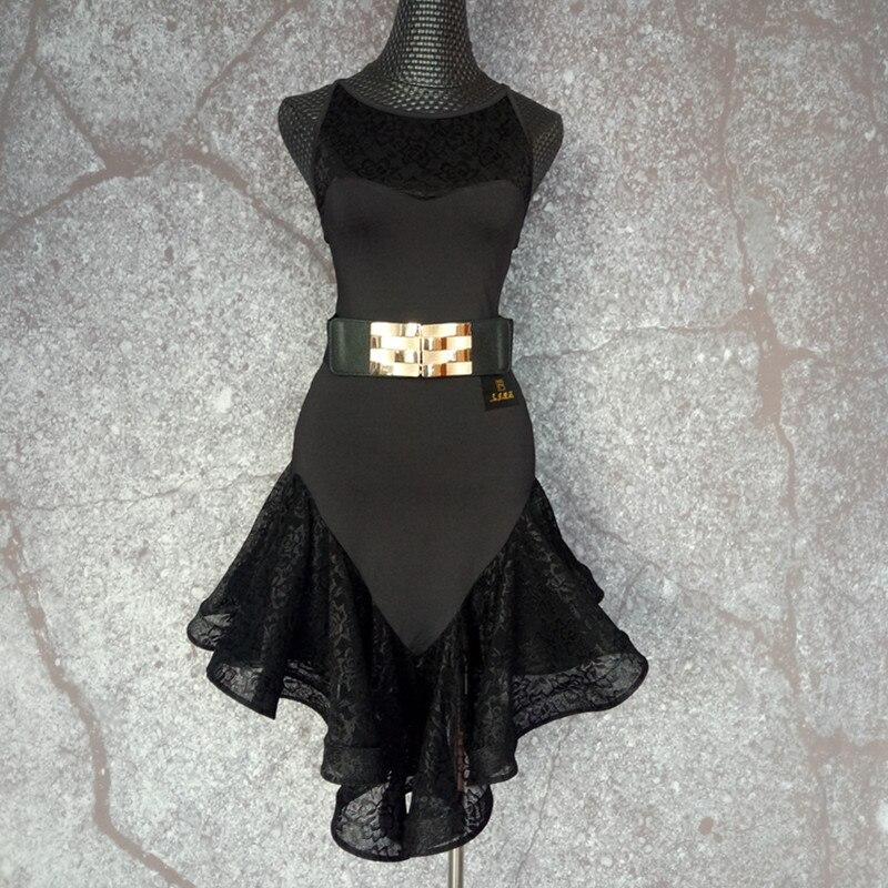 Tango Dress Salsa Rumba Modern Lace Latin Dance Costumes Sleeveless Fishbone Dress Adult Dance Wear Dress Latin MW21