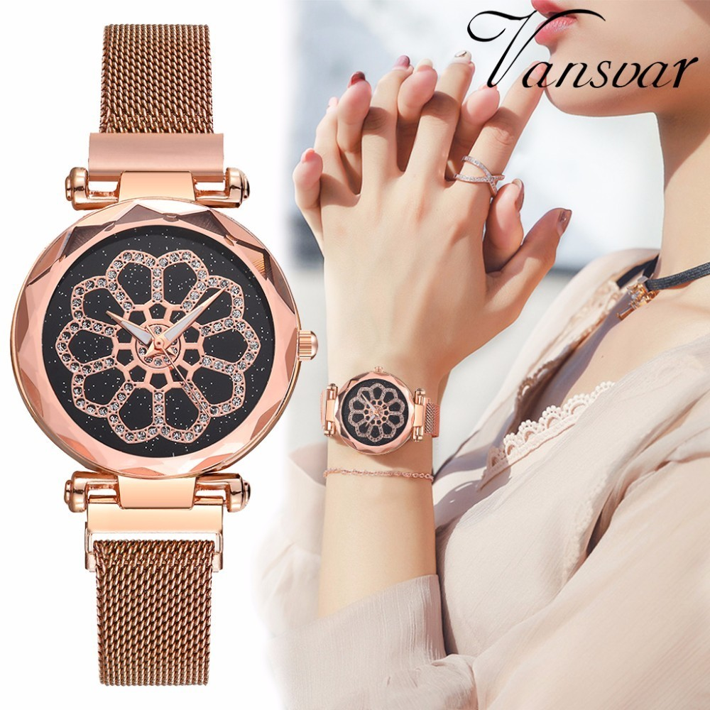 Women Magnet Buckle Starry Sky Flower Watch Casual Luxury Geometric Surface Quartz Wrist Watch Relogio Feminino