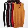 Otoño invierno 2016 Nueva moda Otoño Suelta sin mangas con cuello en V de punto chaleco y vestido de las mujeres del todo-fósforo suéter femme completo