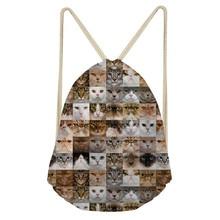 ThiKin Fashion Backpack Cat Dog Printing Travel Softback Girl Women Shoulder Bag Female Backpacks Polyester Drawstring Bag