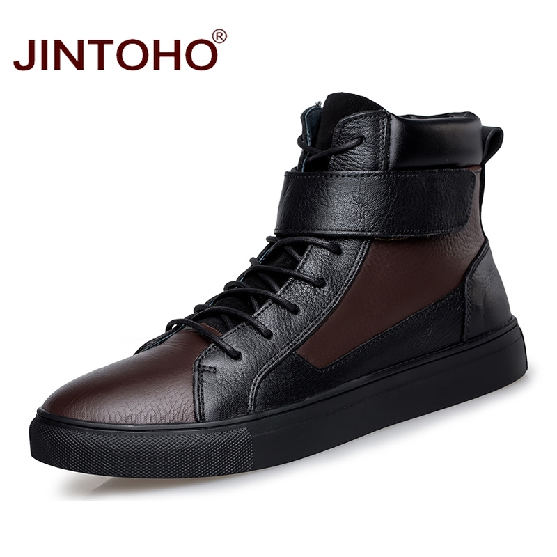 JINTOHO Big Size Men Genuine Leather Boots Fashion Male Leather Boots Winter Men Shoes Brand Boots