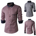High Quality Elegant Patchwork Mens Plaid Shirts Long sleeve Blouse New Brand Men Casual Shirt Camisa Social Slim fit Masculina