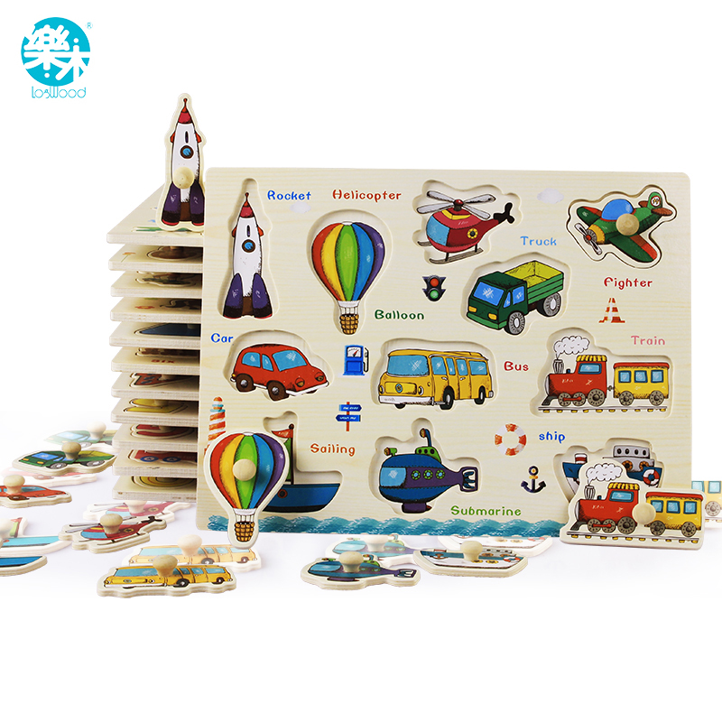 Bebé juguetes Montessori de madera Puzzle/mano agarra tablero de juego juguetes educativos de madera de dibujos animados vehículo/animales rompecabezas Niño regalo