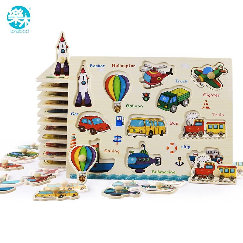 Brinquedos Montessori Enigma de madeira do bebê/Grab Mão Placa Conjunto Educacional Brinquedo De Madeira Dos Desenhos Animados Veículo/Marinha Animais Enigma Criança presente