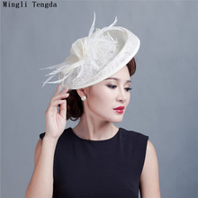 b367299895c4f Vintage Femmes Hat White Wedding Accessories Hat Women hats for party Hats  Bride Wedding with Feathers
