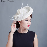 Vintage Femmes Hat White Wedding Accessories Hat Women hats for party Hats Bride Wedding with Feathers and Flowers Mingli Tengda