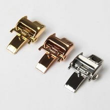 купить 12mm 14mm 16mm 18mm Stainless Steel Watch Band Buckle Leather Strap Rose Gold Silver For Longines Watch Butterfly Folding Clasp дешево