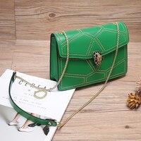 FoxTail Lily Rivet Chain Crossbody Bag Women Genuine Leather Handbags Ladies Small Shoulder Messenger Bags Brands