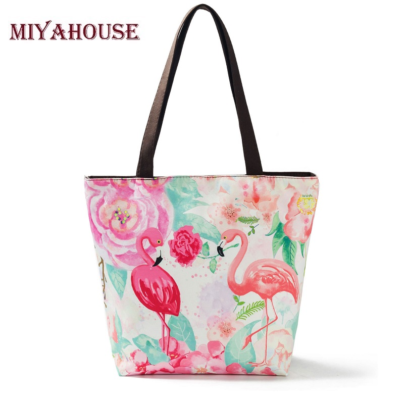 Miyahouse Flamingo Printed Tote Bag Women Casual Beach Bags Handbags Women Brands Female Shoulder Bags Canvas Ladies Handbags aosbos fashion portable insulated canvas lunch bag thermal food picnic lunch bags for women kids men cooler lunch box bag tote