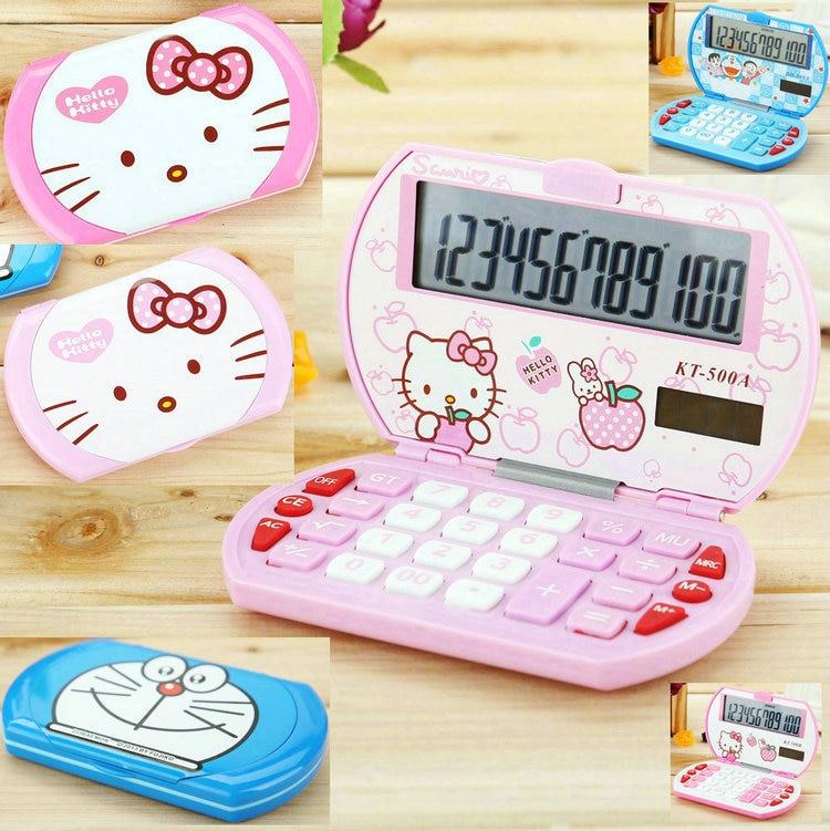 Drop Shipping Mini Cartoon Calculator Korean Style Hello Kitty / Doraemon Solar Folding Calculadora Kids Stationery Gift