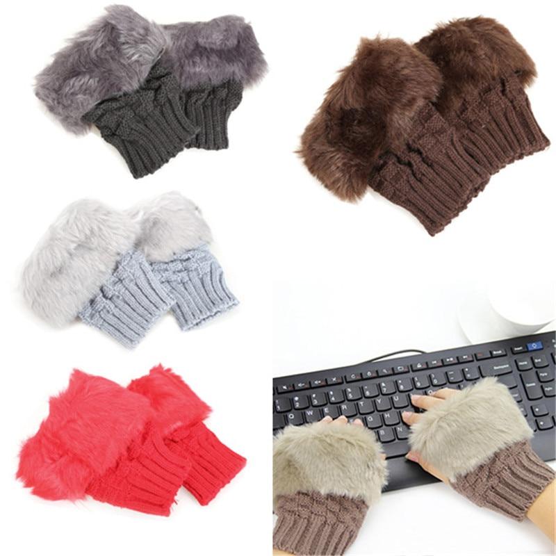Female Gloves 2017 Fashion Women's Faux Rabbit Hair Wrist Knitted Wool Warmer Winter Fingerless Gloves Women Winter Gloves