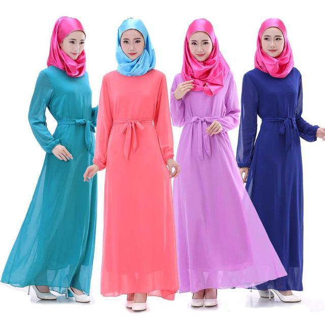 Mujeres musulmanas pictures vestido 2016 robe musulmane Arabia saudita manga larga vendaje de gasa maxi vestidos jilbabs y abayas