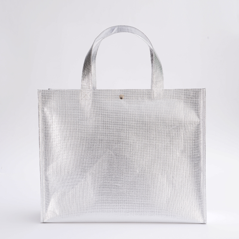 2019 New Silver Coating Non-woven Bag Custom Bags With Logo Tote Bags Reusable Grocery High Capacity Shopping Bag